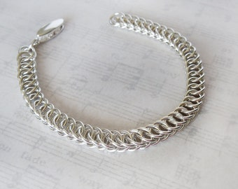Half Persian 4 in 1 Argentium Sterling Silver Chainmail Bracelet