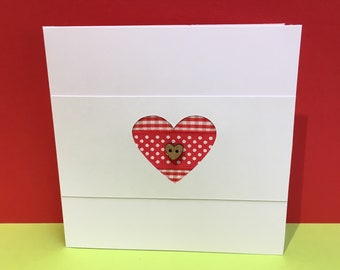 Ribbon Heart Card - Engagement, Wedding, Anniversary, Valentines Day Card - Paper Handmade Greeting Card - Button