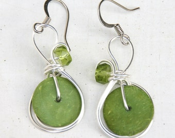 Boho Jewelry, Colorful Earrings, Lime Green Earrings, Casual Wear, Bohemian Jewelry, Summer Earrings, Spring Green Earrings, Green Jewelry