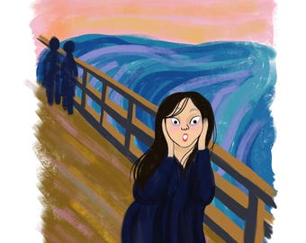 The Scream by Munch - Intersectional Inktober Version - Print - Hand-Illustrated