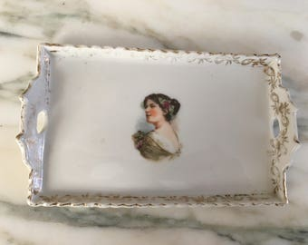 Vintage Victorian Mini White Rectangular Porcelain Dresser Tray with Gold Trim, Woman's Portrait, Pin Dish, Numbered, Shabby Chic