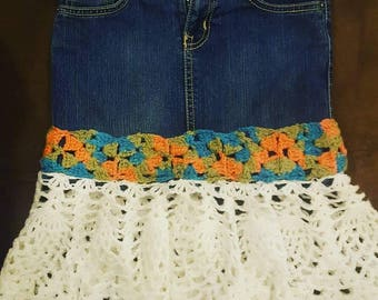 Recycled skirts, jeans & shorts. Proceeds go to charity.