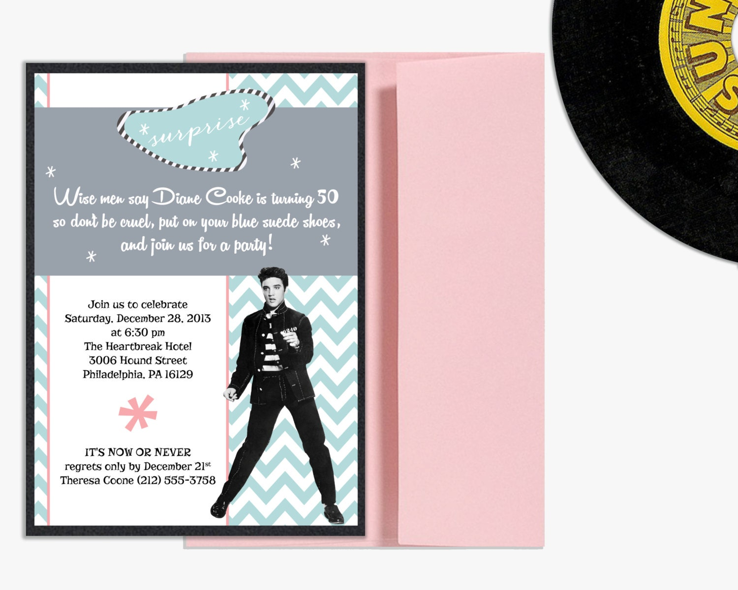 Elvis Presley Milestone Birthday Invitation Surprise Party