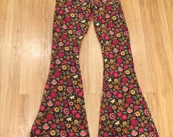 Floral Fleece Flares; fleece bellbottoms; winter bell bottoms; warm festival pants; fleece pants