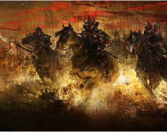 Chinese Warriors Painting Poster 24x36 Historic Impressionistic Art Gem