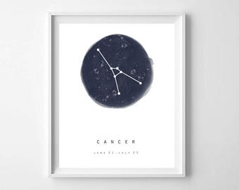 Cancer Star Sign, Cancer Constellation, Cancer star, July Birthday Gift, Astrology Poster, Zodiac Constellation, Astronomy Print, Zodiac Art