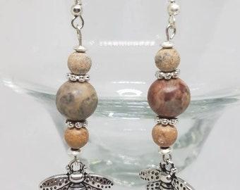 Jasper Bee Earrings