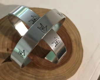Aluminum cuff bracelet hand stamped with sign language I love you