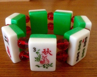 Mahjong bracelet / green and white tiles / clear red glass faceted beads / to fit most wrists / mahjong jewelry / free gift bag