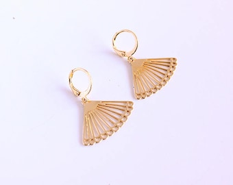 Esther, gilded with fine gold earrings / art deco / triangles / range / gift Valentine's day
