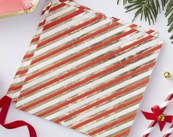 Red Gold Stripe Party Napkins Gold Foiled Party Napkins Paper Napkins Christmas Party & Green Christmas Tree Paper Party Plates Christmas Party