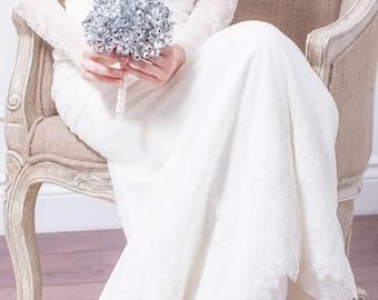 Bouquet mariage - Bouquet de la mariée de fleurs argentées - Bouquet traditionnel rond - Bouquet argent, broche fabuleux Bouquet Alternative