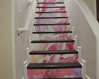 10 Step Stair Riser Decal, Pink Watercolor Flowers Stair Sticker, Pastel  Roses Illustration Removable