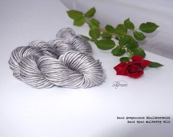 handspun moon-silver mulberry silk single