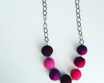 Montrose Felt Necklace in Berry, Purple Statement Necklace, Beaded Necklace, Pom Pom Jewelry, Felt Balls, Gift for Her, Mother's Day Gift