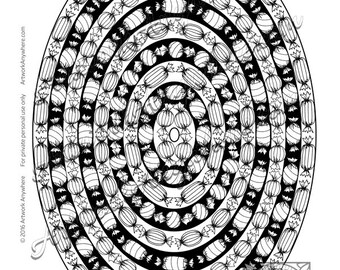 Ring of Striped Wrapped Candy Mandala ~ Adult coloring page printable download ~hand drawn candies~  Candy Kaleidoscope by Artwork Anywhere