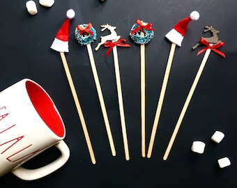 Hot cocoa,hot cocoa bar,christmas decor,christmas party,hot cocoa stirrers, coffee stirrers,santa hat,reindeers
