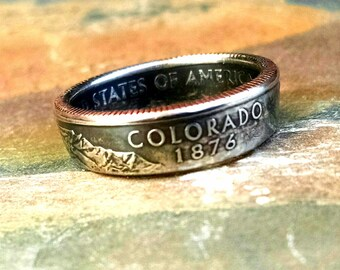 Colorado Quarter Ring - Coin Ring 2006 Quarter Dollar Coin Ring - Size: 7 1/2