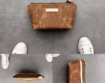 Waxed canvas Dopp kit   shaving bag   toiletry bag