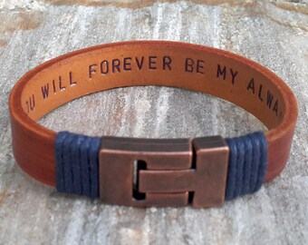 Best Fathers Day Gift - Hidden Message Leather Bracelet Relationship Gift Mens Copper Anniversary 7th Wedding Anniversary Gift for Husband
