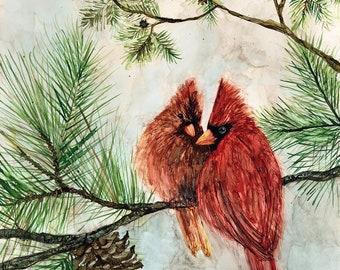 Cardinal Love Birds : Fine Art Print from mixed media painting