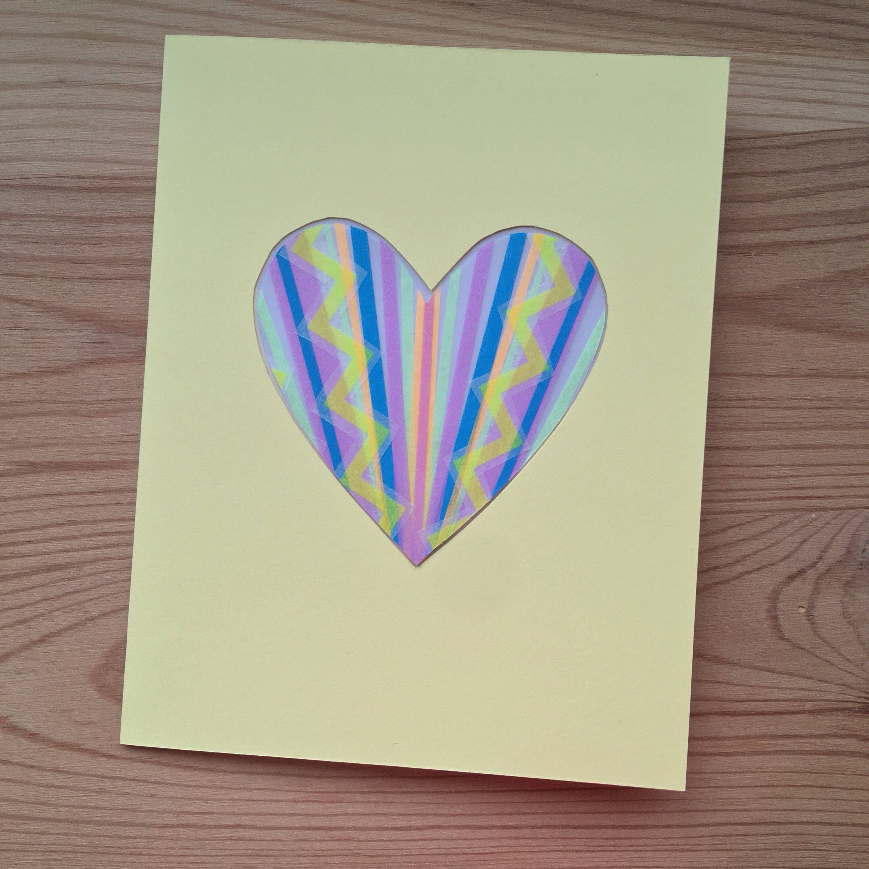 Unique Handmade Greeting Card With Colorful Washi Tape Window