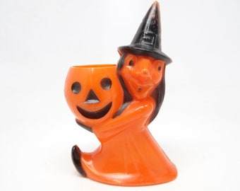 Vintage 1950's Halloween Candy Container, Rosbro Witch Holding a Jack-o-lantern