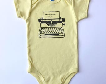 Dear Pittsburgh, I love you. Organic Baby Onepiece Bodysuit in black and gold.