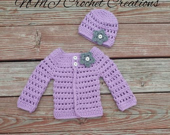 Crochet baby sweater set, Crochet baby cardigan, Baby clothes, Baby Girl, baby shower, baby girl clothes, baby girl gift, baby cardigan