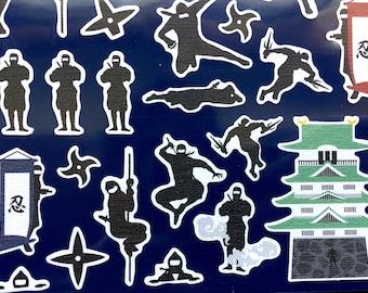 Ninja - Cute Stickers - Japanese Stickers - Chiyogami Stickers -  Traditional Japanese Stickers - Large Sheet (S233)