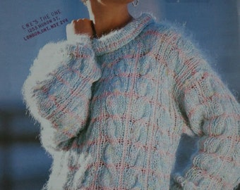 Easy Sweater Knitting Pattern Patons 3778 Fast Quick Women Bulky Weight Yarn Sizes 30 - 40 Inches 76 - 102 cm Paper Original NOT a PDF