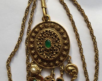 Vintage Pendant Necklace with Charm Dangles