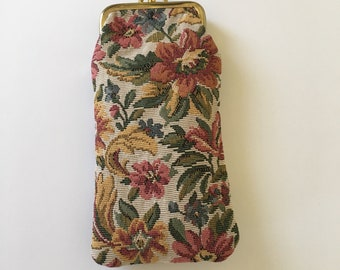Vintage artisan, embroidered material, multi color florals, long, double kiss lock coin purse, gold tone metal latches.