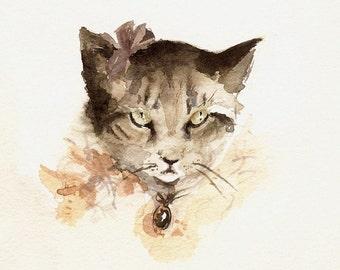 "cat art,cat watercolor, cat print- nursery decor ""Portrait of Mittens"" cat painting"