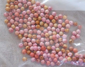 Coral and Pink Small Round Beads