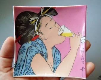 Vintage Retro Japanese Geisha Drinking Small Square Dish Sushi Condiment Plate