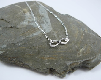 Infinity Choker Necklace  Sterling Silver Chain Dainty