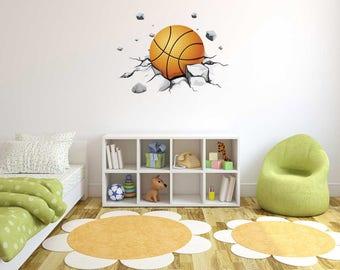 Basketball Theme - 3D Smashed ball-  Wall Decal For Home Nursery Decoration