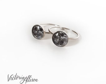 Sterling Silver Moon Ring, Moon Jewelry, Full Moon, Earths Moon, Silver Moon Ring, Space, Astronomy, Geek Gift, Handmade