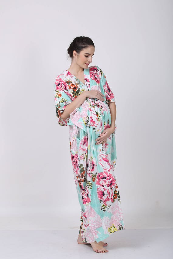 Dark Aqua Floral mommy gown hospital gown maternity
