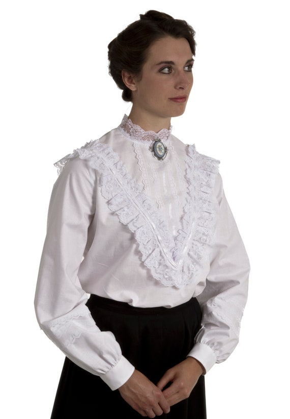 Edwardian Blouses | White & Black Lace Blouses & Sweaters Adele Victorian Edwardian Blouse $74.96 AT vintagedancer.com