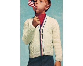 Instant Download PDF Knitting Pattern to make a Childrens Boys or Girls Tennis Cricket Cable Cardigan Aran Yarn 5 sizes 4 to 12 years