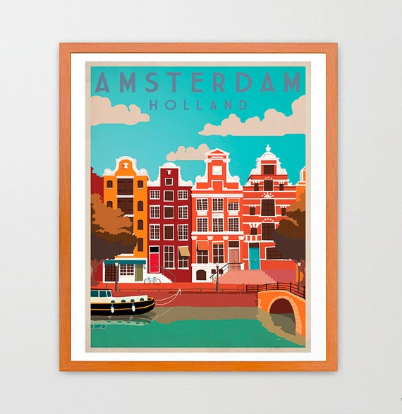 Amsterdam - Holland - Amsterdam Poster - Amsterdam Art - Europe - Europe Poster - Holland Art - Holland Poster - Amsterdam Wall Art - Travel