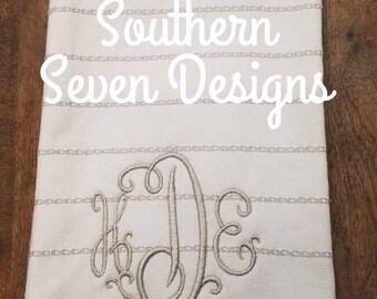 Embroidered monogrammed kitchen tea towel.