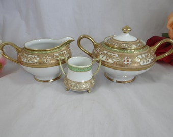 Spectacular Hand Painted Nippon Gold Beaded Moriage Creamer and Sugar Set c1911 - 1920