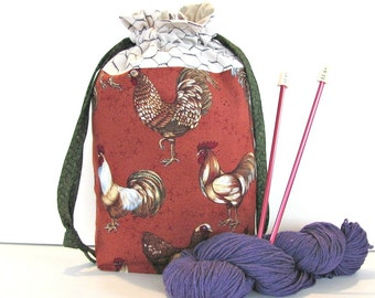 Knitting Drawstring bag, Project Bag, Crochet project bag - Chickens Roosters Knitting Tote Bag, Knitters Gift