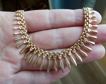 Egyptian collar necklace solid 14k yellow gold 17 inches