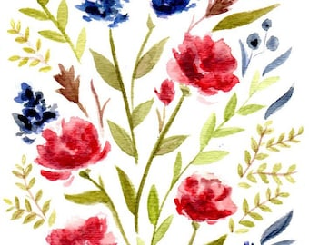 Watercolor Flowers - Reds and Blues