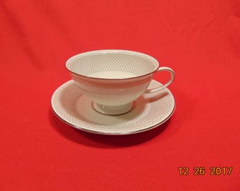 """One (1), 2 1/4"""", Footed Cup & Saucer, from Rosenthal China, in the. Platinum Grail Pattern"""