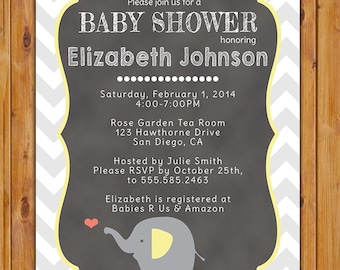 Chevron Baby Shower Invitation Elephant Baby Shower Invitation gender neutral Grey Yellow Coral baby shower Invites (122)